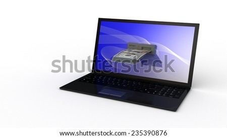 Laptop and dollar money on white background