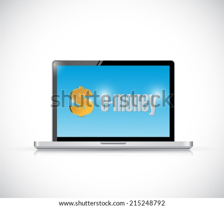laptop and e-money illustration design over a white background - stock photo