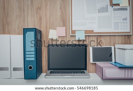 office pinboard. Laptop And Folders On A Shelf In The Office, Pinboard Background, Business Office