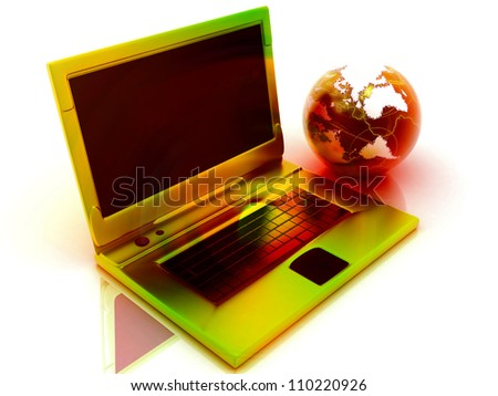 Laptop and globe on a white background. - stock photo