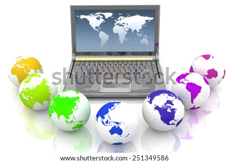 Laptop and globes of all colors of rainbow. Conception global computer network - stock photo