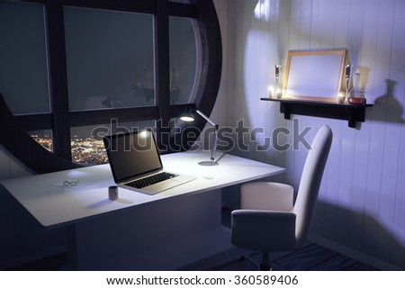 Laptop and lamp on white table in modern room with night city view 3D Render - stock photo