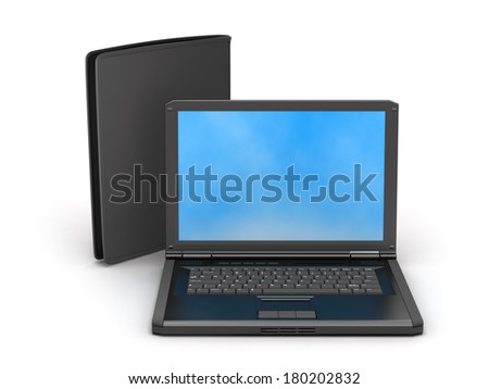 Laptop and leather wallet on white background