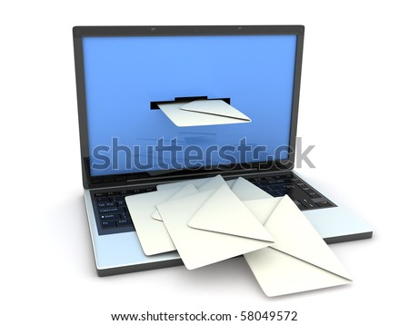 laptop and mail (done in 3d, isolated) - stock photo