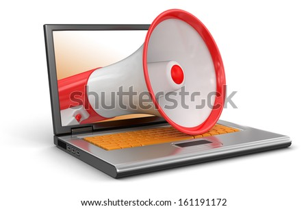 Laptop and Megaphone (clipping path included) - stock photo