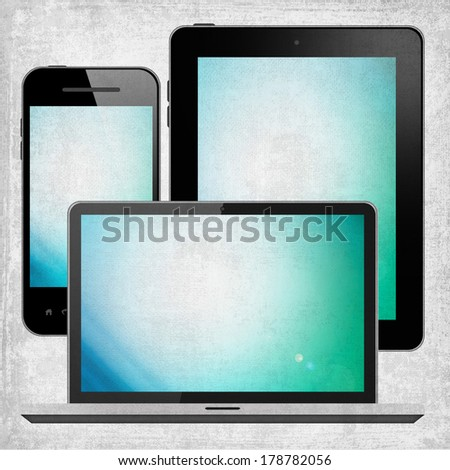 Laptop and mobile phone and tablet pc