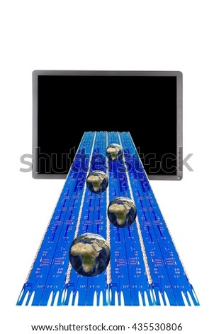 Laptop and network switch with ethernet cables and fiber against white - stock photo