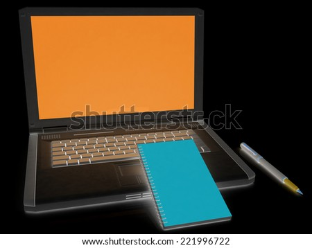 laptop and notepad on a black
