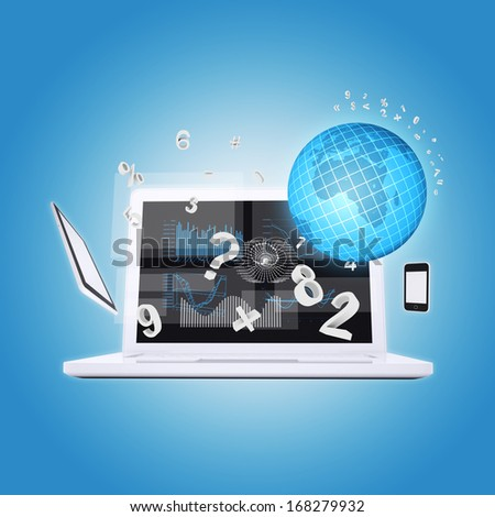 Laptop and office items. The concept of digital office - stock photo