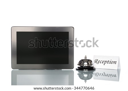 Laptop and Service bell on white background, reception - stock photo