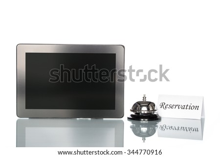 Laptop and Service bell on white background, reserved - stock photo