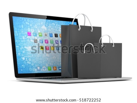 laptop and  shopping pags on white background. 3d rendering.