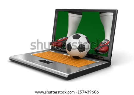 Laptop and soccer (clipping path included) - stock photo