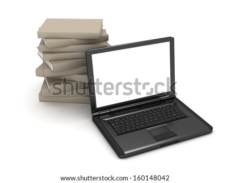 Laptop and stack of books