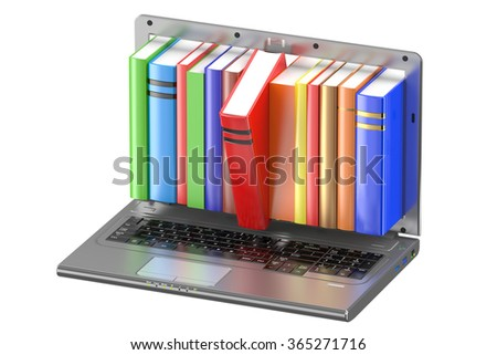 Laptop and stack of color books isolated on white background