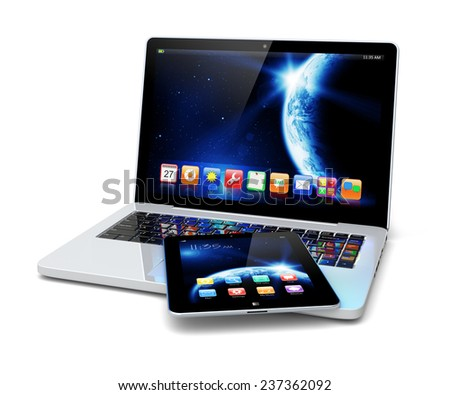 Laptop and tablet pc computer with space dawn wallpaper and apps on a screen. The Earth texture of this image furnished by NASA. (http://visibleearth.nasa.gov/view.php?id=57735) - stock photo