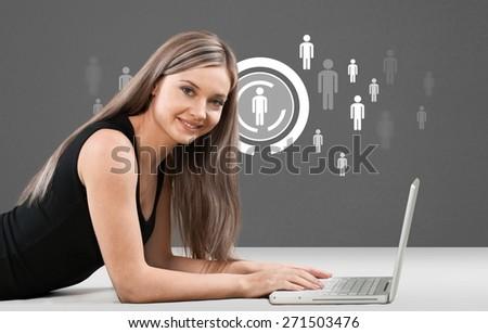 Laptop. Chatroom - stock photo