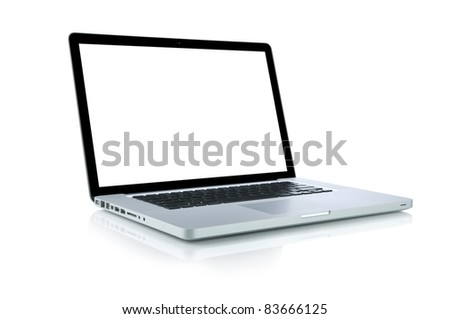 Laptop (Clipping path is included) - stock photo