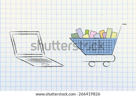 laptop computer and shopping cart, concept of e-commerce and online shopping
