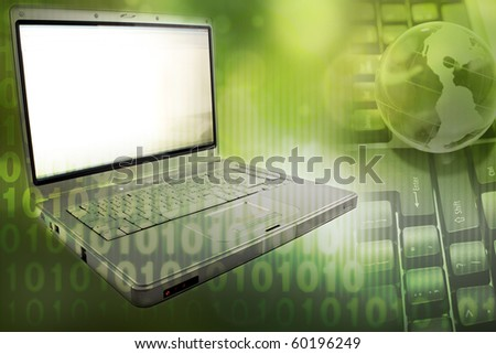 Laptop computer, globe and numbers - stock photo