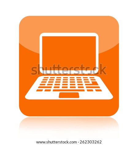 Laptop computer icon - stock photo