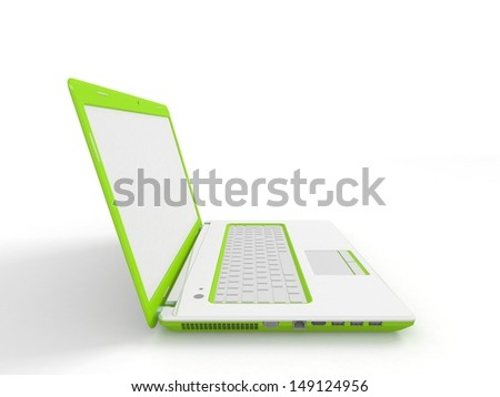 Laptop computer isolated on white - stock photo