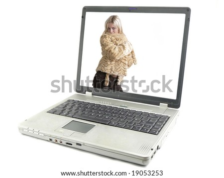 Laptop computer isolated on white, peoples, girls