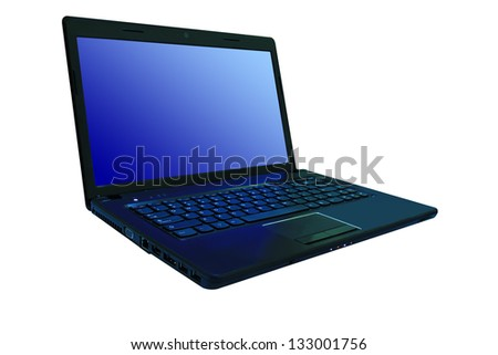 Laptop computer,Isolated white background(with clipping paths ready to use) - stock photo