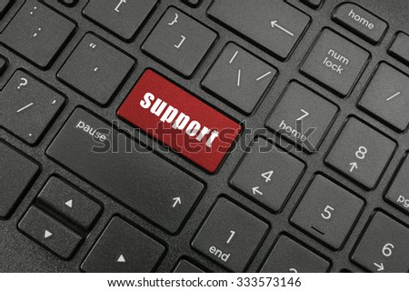 Laptop computer keyboard with support button - stock photo