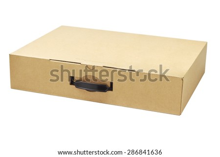 Laptop Computer Packaging Box on White Background - stock photo