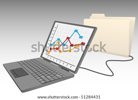 Laptop computer store data in database file folder