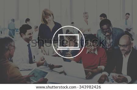 Laptop Computer Technology Digital Device Concept - stock photo