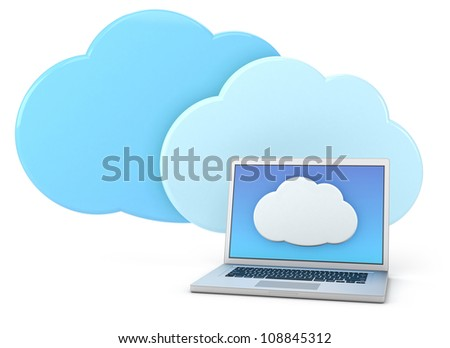 laptop computer with cloud icon - high quality 3d illustration