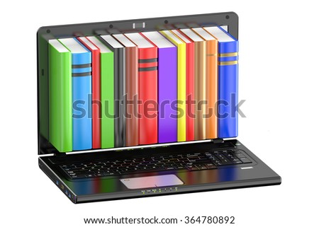 Laptop computer with colored books isolated on white background - stock photo
