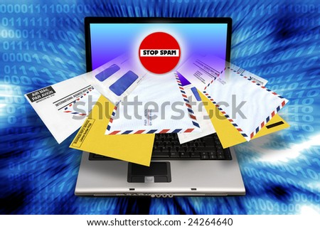 laptop computer with envelopes coming out of the screen as concept for email spam - stock photo