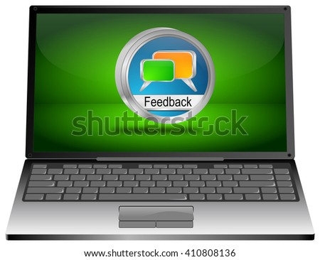 Laptop computer with Feedback button - 3D illustration - stock photo