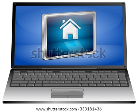 Laptop computer with Home Button - stock photo