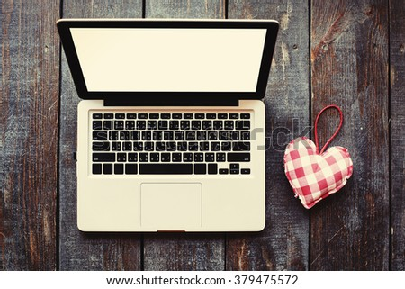 Laptop Computer Love Heart Symbol On Stock Photo 379475572