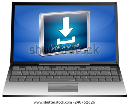 Laptop computer with PDF Download button - stock photo