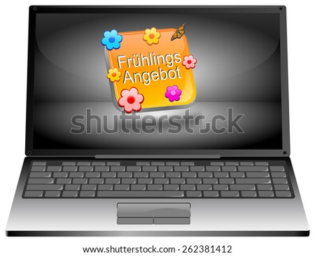 Laptop computer with spring sale button - in german - stock photo