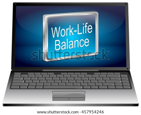 Laptop computer with Work Life Balance button - 3D illustration - stock photo