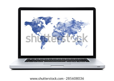 Laptop computer with  World map shaped clouds   on screen - stock photo