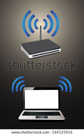 laptop connected to a wireless router - stock photo