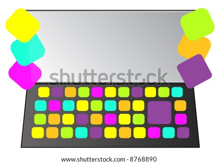 laptop covered with assorted sticky notes - stock photo