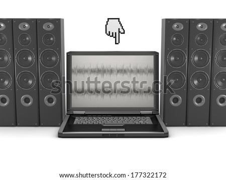 Laptop, cursor hand and audio speakers