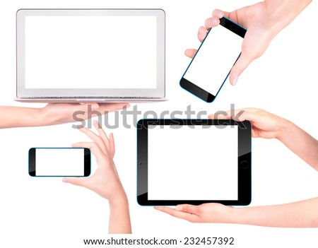 laptop, digital tablet and mobile phone with woman hand isolated - stock photo