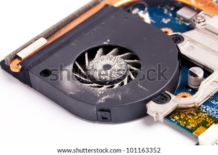 Laptop dirty fan close view on details - stock photo