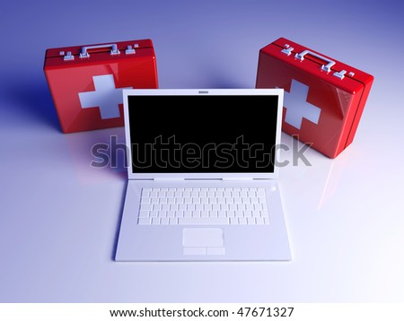 Laptop first aid - stock photo