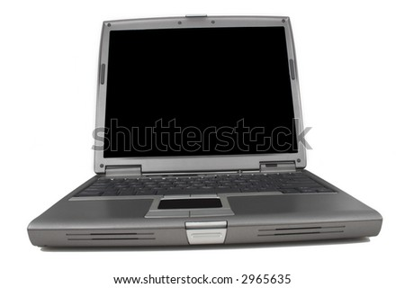 Laptop from the front on white background