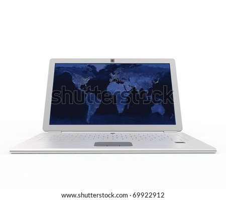 Laptop front view. Elements of this image furnished by NASA
